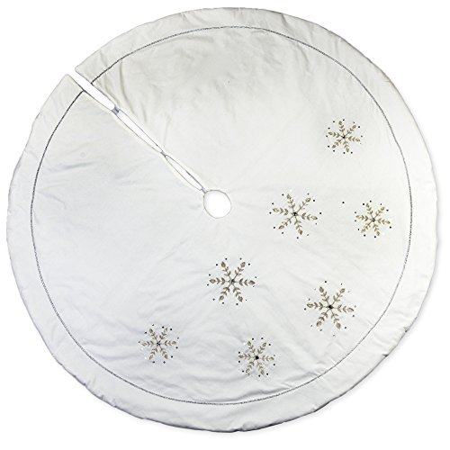 Linen Christmas Tree Skirt: Amazon.com: 72 Inch White Linen Embroidered Snowflake