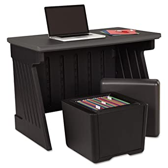 Iceberg ICE75007 SnapEase Computer Workstation, High-Density Plastic, 42 Width x 30 Height x 24-1 2 Depth, Black Charcoal