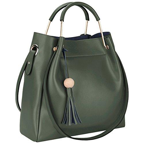 S-ZONE 3-Way Women Designer Leather Tassel Handbag Shouler Bag Crossbody Purse (Dark Green) by S-ZONE