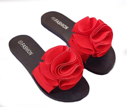 NEWZCERS - Sandalias de vestir de Caucho para mujer Rojo