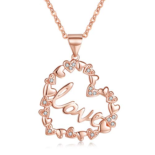 Love Heart Necklace for Women Cubic Zircon I Love You 14K Rose Gold Pendant Necklace Jewelry Gift Mom