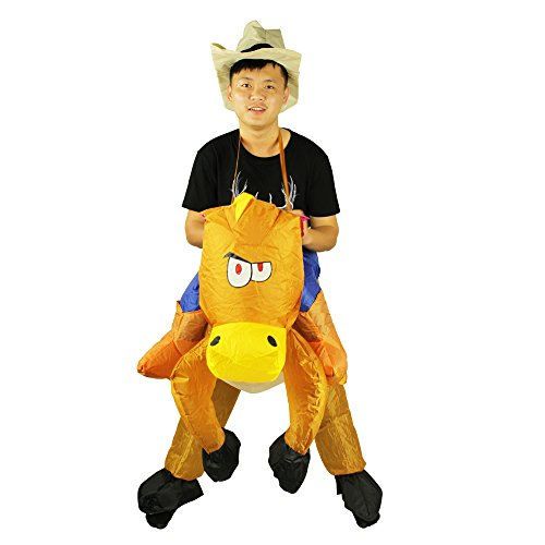 Ehomelife Inflatable Western Cowboy Piggyback Horse Costume Horse Rider Adult Fancy Dress