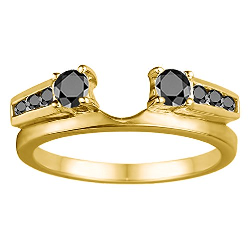 Black Diamonds Wedding Ring Jacket Mounted In Silver(0.31Ct) Size 3 To 15 in 1/4 Size Interval ()