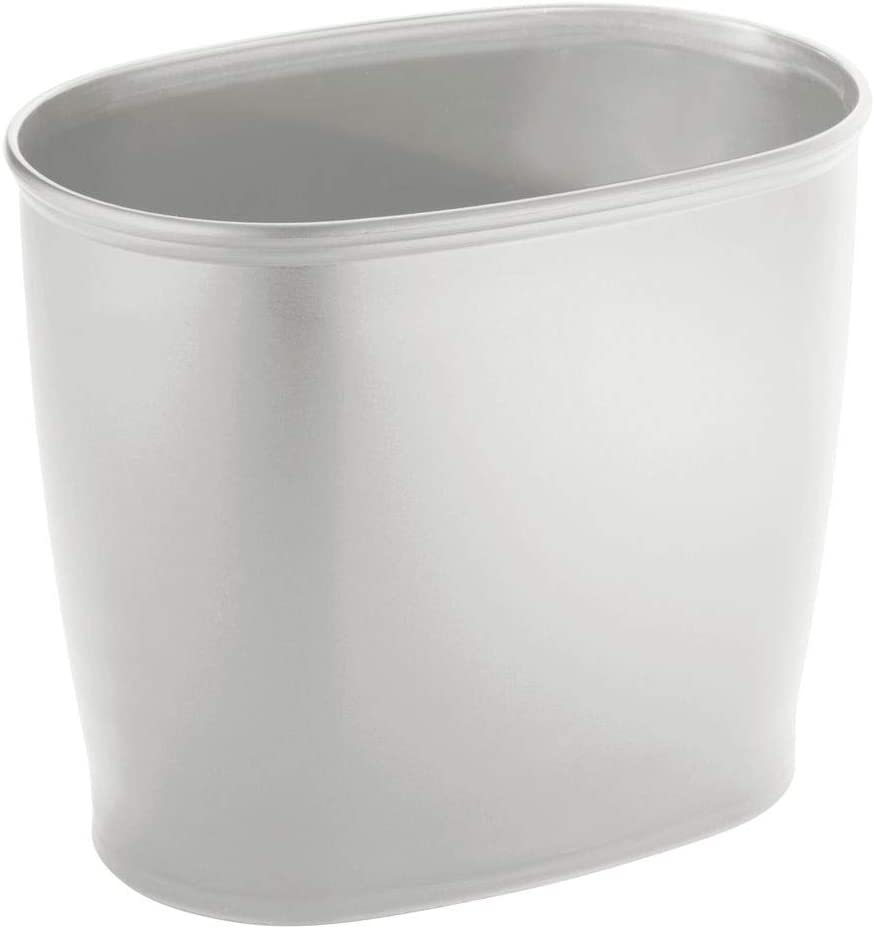 mDesign Modern Oval Plastic Small Trash Can Wastebasket, Garbage Container Bin for Bathroom, Kitchen, Laundry Room, Home Office, Dorms - Light Gray