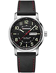 Wenger Mens Sport Swiss Quartz Stainless Steel and Leather Casual Watch, Color:Black (Model: 01.1541.101)