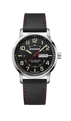 (Wenger Men's Sport Stainless Steel Swiss-Quartz Watch with Leather Strap, Black, 22 (Model: 01.1541.101))