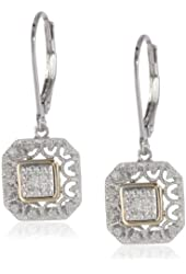 Sterling Silver and 14k Yellow Gold Art Deco with Diamond Accent Drop Earrings
