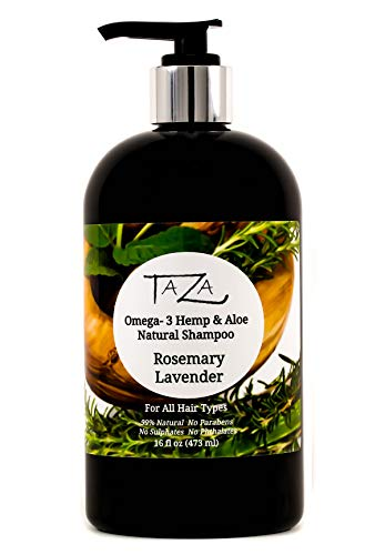 - Premium Taza Natural Omega-3 Hemp & Aloe Rosemary Lavender Botanical Shampoo, 16 fl oz ♦ For Healthy, Silky Hair ♦ Contains: Aloe Leaf Juice, Hemp Seed Oil, Pro Vitamin B5, White Willow Bark