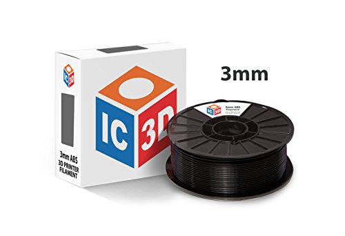 IC3D Black 3mm ABS 3D Printer Filament - 2.1lb Spool - Dimensional Accuracy +/- 0.05mm - Professional Grade 3D Printing Filament - MADE IN USA