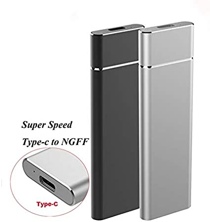 Color : Silver SHIFENX M.2 NGFF to USB-C//Type-C USB 3.1 Interface Aluminum Alloy SSD Enclosure