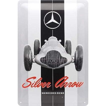 Blechschild Mercedes Benz  Silver Arrow Nostalgie Schild 30 cm Sign