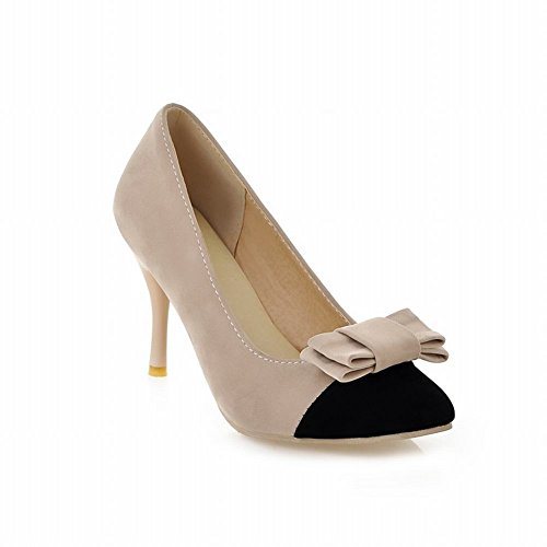 Carolbar Chic Womens Pointed Toe Assorted Colors Bows Grace High Stiletto Heel Dress Pumps Shoes Deep Beige Z0URcIS