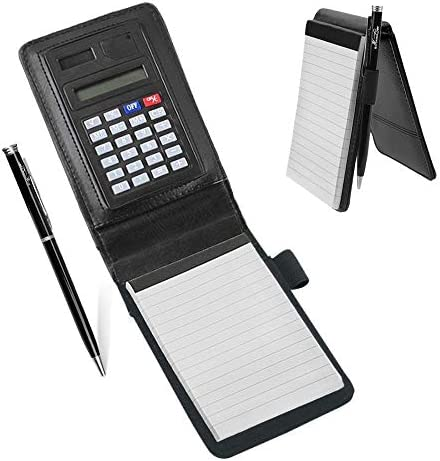 Notizblock A7 Leder mit Taschenrechner Schreibblock Hardcover Notizbuch klein 30 Blätte für Büro Schreiben Zeichnen Notiz Schreibblock Tragbar praktisch Skizzenblöcke Papier als Business Geschenk