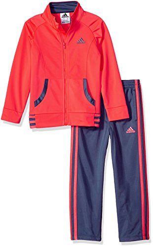 adidas Little Girls' Tricot Zip Jacket and Pant Set, Flash Red, 4 (Kids Tracksuit)
