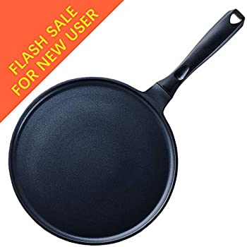 Josef Strauss 8.7 Inch Crepe Pan Batter Spreader Included! Non-Stick Quantanium Coating Oven and Dishwasher Safe Induction Compatible
