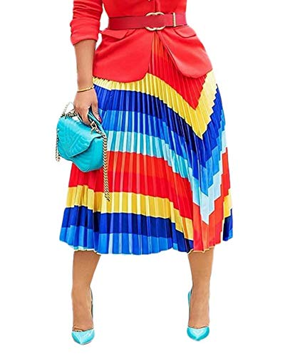 Women's Pleated Skirts Rainbow Stripes Printed Elastic Waist A-Line Swing Midi Skirt Colorful #2 L