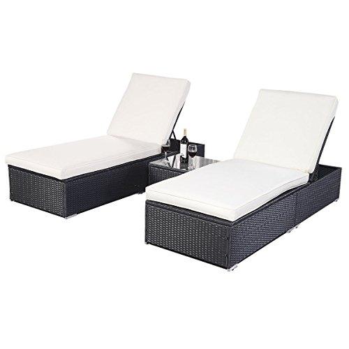 Amazoncom Tangkula 3 Pcs Wicker Outdoor Furniture Pool Chaise