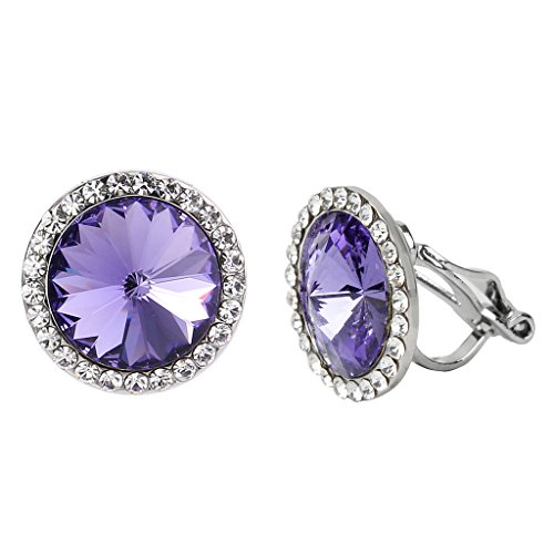 EleQueen Women's Silver-tone Round Bridal Clip-on Stud Earrings Tanzanite Color Austrian ()