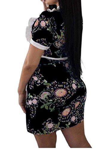 Coolred-femmes Partie Col Rond Point Ébouriffé Maigre Floral Noir Robe Imprimée