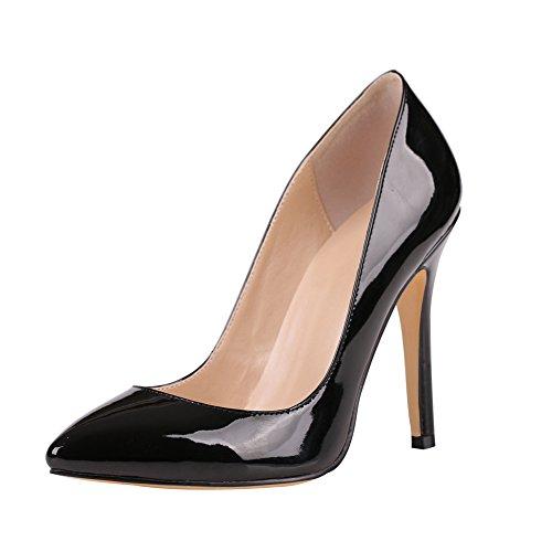 Party Patent Schwarz Toe Schuhe 100mm Geschlossen Pumps On Kolnoo Damen Slip Absatz Höher x8CzqBnnwU