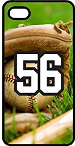 Baseball Sports Fan Player Number 56 Black Rubber Decorative iPhone 5c Case