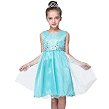 FREE FISHER Kids Girls Sleeveless Squin Tulle Lace Formal Prom Gown Dress
