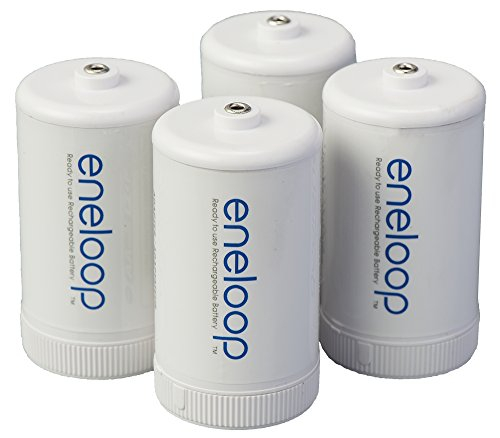 Panasonic BQ-BS1E4SA eneloop D Size Battery Adapters for Use with Ni-MH Rechargeable AA Battery Cells, 4 Pack (Best Rechargeable D Batteries)