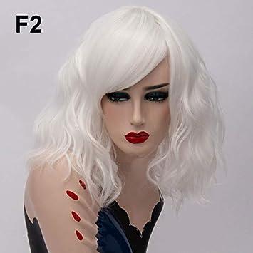 Lyzhm Perruque Wigshort Pour Les Femmes Rose Blanc Perruque