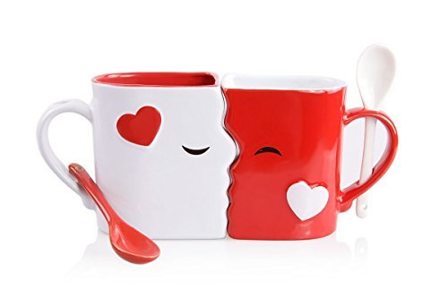 Kissing Mugs Set, Exquisitely Crafted Two Large Cups, Each with Matching Spoon, For Him and Her on a Birthday, Anniversary, Wedding, Engagement or Anytime a Couple Wishes by Blu Devil