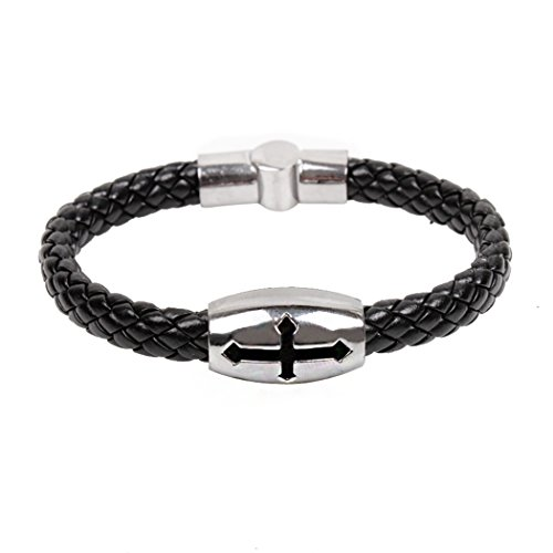 MORE FUN Mens Womens Fashion Jewelry Wide Black Braided Leather Bracelet Bangle With Stainless Steel Magnetic Clasp (Bender Costume 2016)