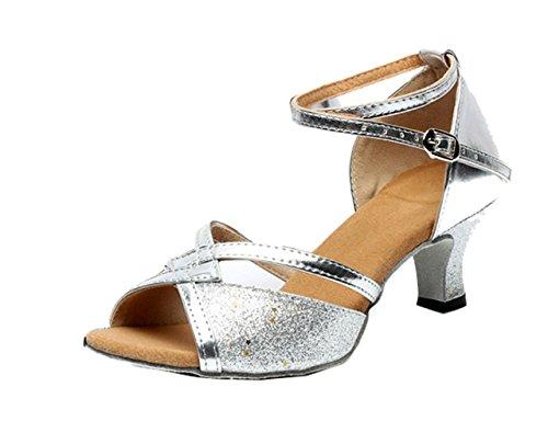f704b159f97a89 Gaorui Women Tango Ballroom Latin Salsa Waltz Dance Girl Party Formal Shoes  Brillante Glitter Heeled Silver