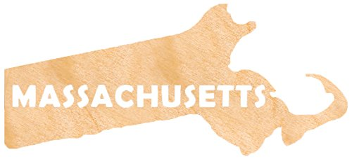 aMonogram Art Unlimited State Of Massachusetts Wooden Shape With State Name and 1/4 Burch plywood Wall Decor, 24''