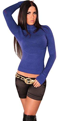In Style–Jersey para mujer Manga larga con cuello alto añil