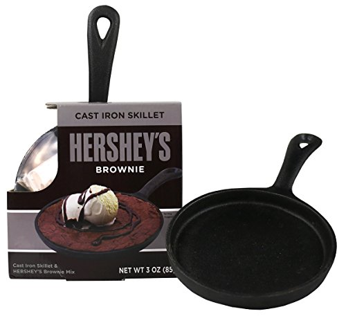 Hershey's Chocolate Brownie Skillet Comes With Individual 5 Inch Mini Cast Iron Skillet & Hershey's Famous Chewy Brownie Mix in GIft Box