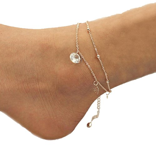 Usstore 1Pair Women Barefoot Gold/Silver Chain Anklet Bracelet Chain Beach Foot Sandal Jewelry (E)