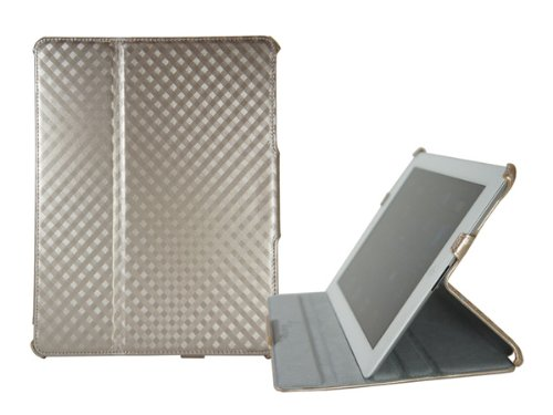 Slim Argyle Folio Carrying Case Stand for iPad 2 (Champagne)