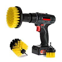 Scrub Brush Drill Attachment Kits - Brush Heads for Cordless / Corded Power Drills Impact Drivers – All Purpose Shower Tile Bathroom Bathtub Sink Hardwater Stains Scum Grout Cleaning Set (Yellow - Medium)