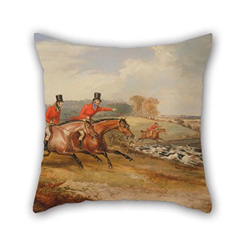 beeyoo Oil Painting Francis Calcraft Turner - Bachelor's Hall- Full Cry Throw Pillow Covers 18 X 18 Inches / 45 by 45 cm for Drawing Room Birthday Festival Pub Sofa Office with Each Side