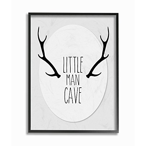 - The Kids Room by Stupell Black and Grey Little Man Cave Antlers Framed Giclee Texturized Art, 11 x 1.5 x 14, Multi-Color
