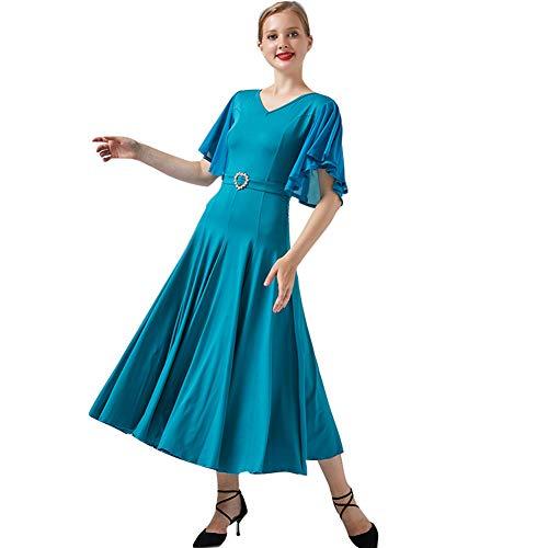 YUMEIREN Ruffle Sleeve V-Neck Ballroom Dance Dress