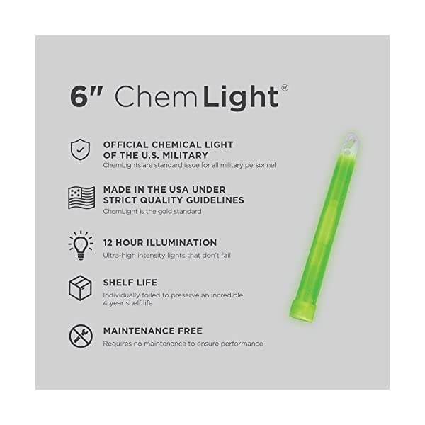 "Cyalume ChemLight Military Grade Chemical Light Sticks – 12 Hour Duration Light Sticks Provide Intense Light, Ideal as Emergency or Safety Lights, for Tactical Applications, Hiking or Camping and Much More, Standard Issue for U.S. Military Personnel – Green, 6"" Long (Pack of 10)"