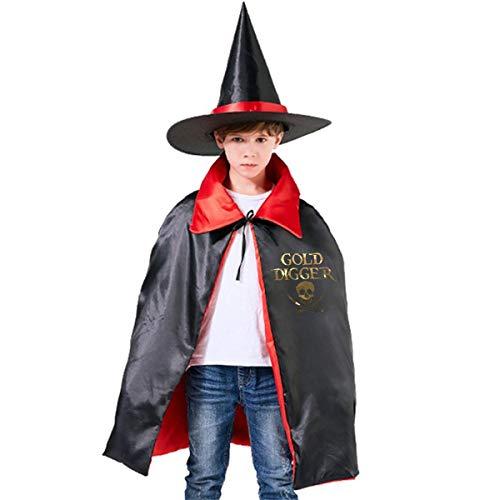 Wodehous Adonis Digger Skull Pirate Golden Kids Halloween Costume Cape Witches Cloak Wizard Hat Set -