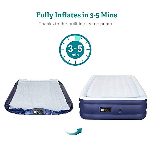 Sable Air Mattress, Blow Up Full Size XL Inflatable Airbed with Build-in Pump, Storage Bag for Home, Overnight Guests, Height 18