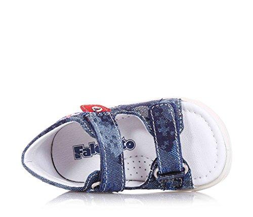 FALCOTTO NATURINO - Sandalia azul de denim, ideal para el gateo y los primeros pasos, suave y cómodo, Niño, Niños