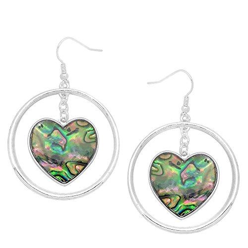 Abalone Pearl Hook Earrings - Falari Natural Abalone Shell Earring Silvertone Hook Heart OE1957