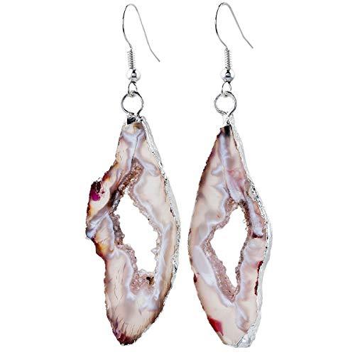 - Nupuyai Natural Stone Drop Earrings for Women, Druzy Agate Geode Crystal Quartz Dangle Hook Earrings for Girls