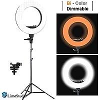 LimoStudio LED 18 Ring Flash Light Dimmable SMD LED Lighting Kit 5500K Photography Photo Studio Light Stands, AGG1775