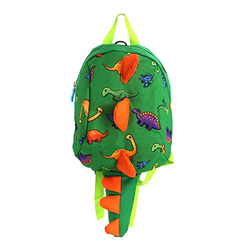 Van Caro Kids Toddler Cute Dinosaur Backpack with Anti-Lost Belt for 3-6 Years (Green)