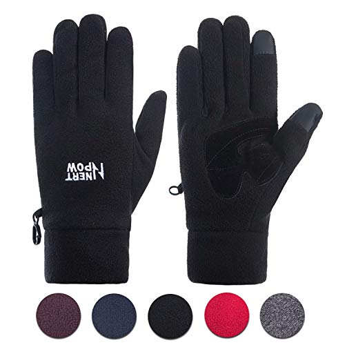 Nertpow Winter Warm Gloves for Men and Women, Polar Fleece Thermal Windproof Touchscreen Gloves for Driving Cycling Running (Black L)