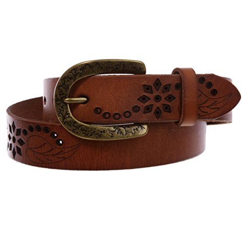 Snap On Soft Vintage Cowhide Full Grain Leather Floral Perforated Casual Belt, Tan   38
